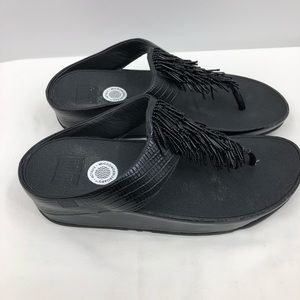 Fitflop black rumba beaded sandals size 8